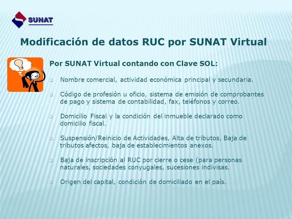 Por SUNAT Virtual contando con Clave SOL: Nombre comercial, actividad económica principal y secundaria. Código de profesión u oficio, sistema de emisi