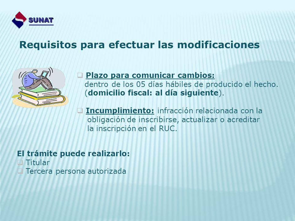 SUNAT Requisitos para efectuar las modificaciones Plazo para comunicar cambios: dentro de los 05 días hábiles de producido el hecho. (domicilio fiscal