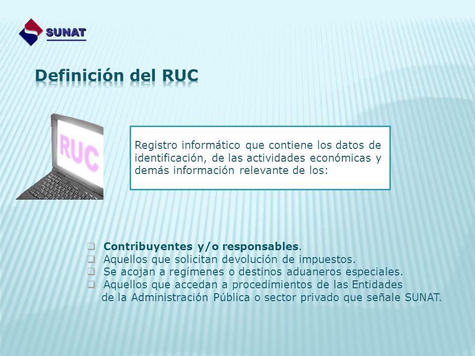 SUNAT Registro informático que contiene los datos de identificación, de las actividades económicas y demás información relevante de los: Contribuyente
