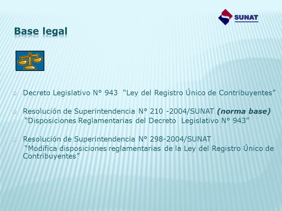 Decreto Legislativo N° 943 Ley del Registro Único de Contribuyentes (norma base) Resolución de Superintendencia N° 210 -2004/SUNAT (norma base) Dispos