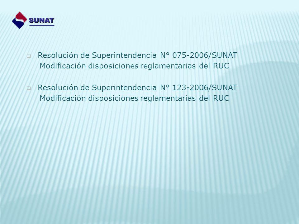 Resolución de Superintendencia N° 075-2006/SUNAT Modificación disposiciones reglamentarias del RUC Resolución de Superintendencia N° 123-2006/SUNAT Mo