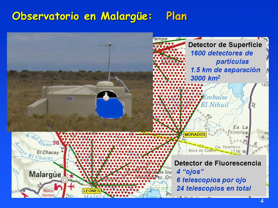4 Detector de Superficie 1600 detectores de partículas 1.5 km de separación 3000 km 2 Detector de Fluorescencia 4 ojos 6 telescopios por ojo 24 telescopios en total Observatorio en Malargüe: Plan