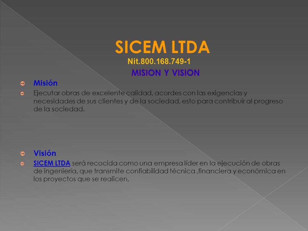 Misión Ejecutar obras de excelente calidad, acordes con las exigencias y necesidades de sus clientes y de la sociedad, esto para contribuir al progres