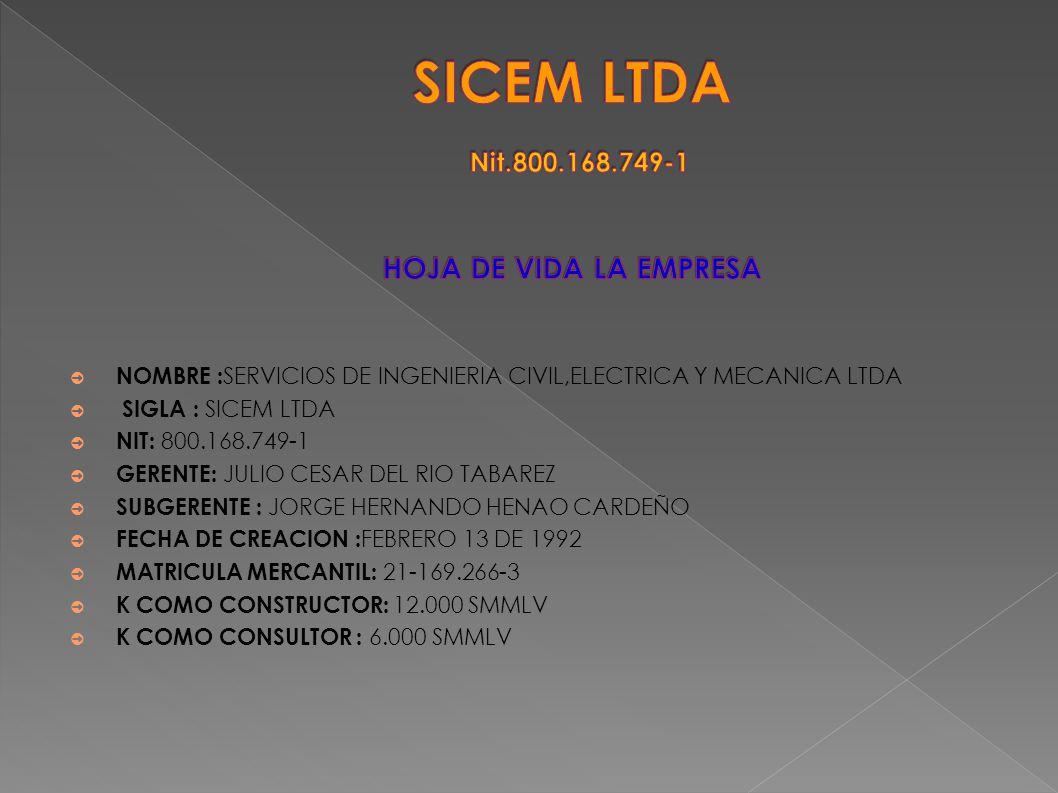 NOMBRE : SERVICIOS DE INGENIERIA CIVIL,ELECTRICA Y MECANICA LTDA SIGLA : SICEM LTDA NIT: 800.168.749-1 GERENTE: JULIO CESAR DEL RIO TABAREZ SUBGERENTE