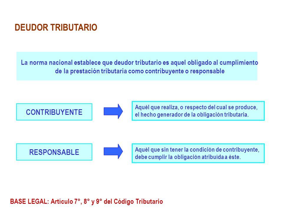 DEUDOR TRIBUTARIO La norma nacional establece que deudor tributario es aquel obligado al cumplimiento de la prestación tributaria como contribuyente o
