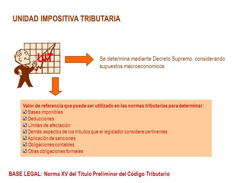 UNIDAD IMPOSITIVA TRIBUTARIA UIT Valor de referencia que puede ser utilizado en las normas tributarias para determinar: Bases imponibles Deducciones L