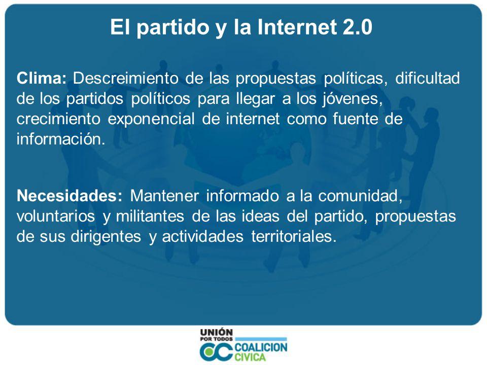 El partido y la Internet 2.0 Clima: Descreimiento de las propuestas políticas, dificultad de los partidos políticos para llegar a los jóvenes, crecimiento exponencial de internet como fuente de información.