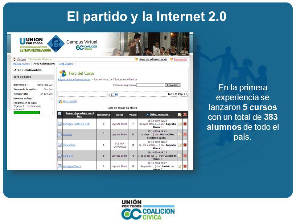 El partido y la Internet 2.0 En la primera experiencia se lanzaron 5 cursos con un total de 383 alumnos de todo el país.