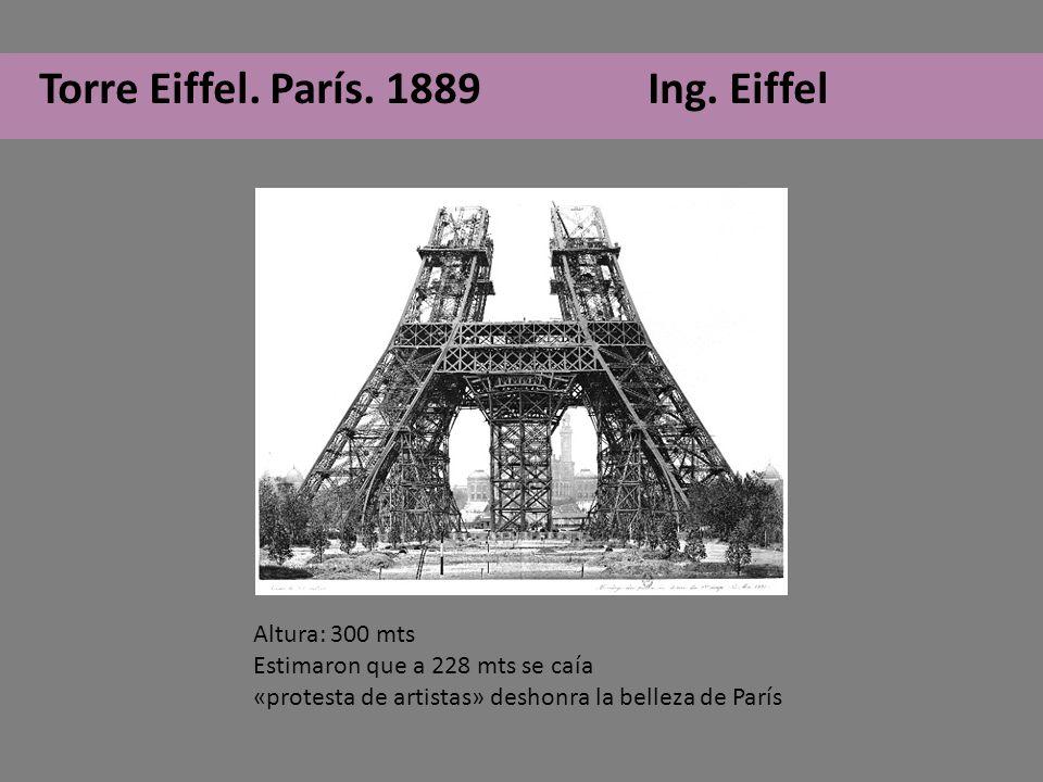 Torre Eiffel. París. 1889 Ing. Eiffel Altura: 300 mts Estimaron que a 228 mts se caía «protesta de artistas» deshonra la belleza de París