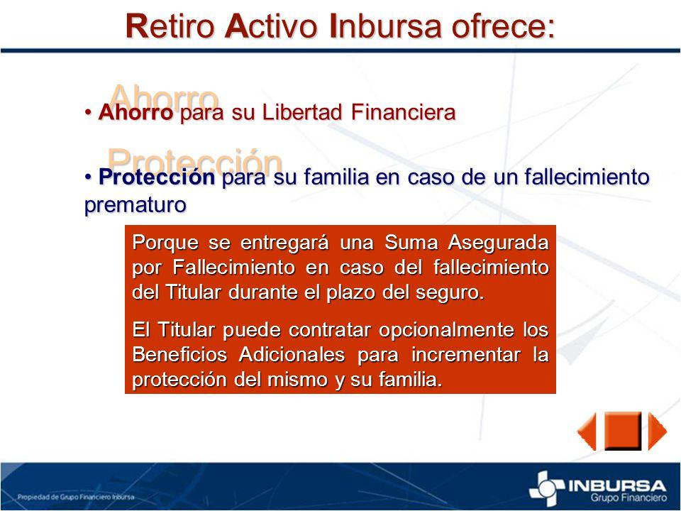 Ahorro Protección Retiro Activo Inbursa ofrece: Ahorro para su Libertad Financiera Ahorro para su Libertad Financiera Protección para su familia en ca