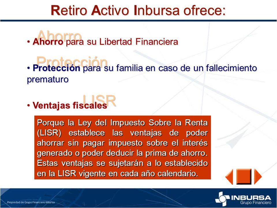 Ahorro Protección LISR Retiro Activo Inbursa ofrece: Ahorro para su Libertad Financiera Ahorro para su Libertad Financiera Protección para su familia