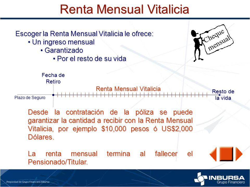 Renta Mensual Vitalicia Escoger la Renta Mensual Vitalicia le ofrece: Un ingreso mensual Un ingreso mensual Garantizado Garantizado Por el resto de su