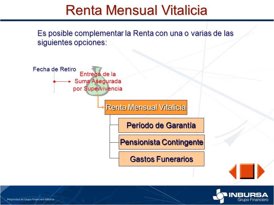 Renta Mensual Vitalicia Es posible complementar la Renta con una o varias de las siguientes opciones: Fecha de Retiro Entrega de la Suma Asegurada por