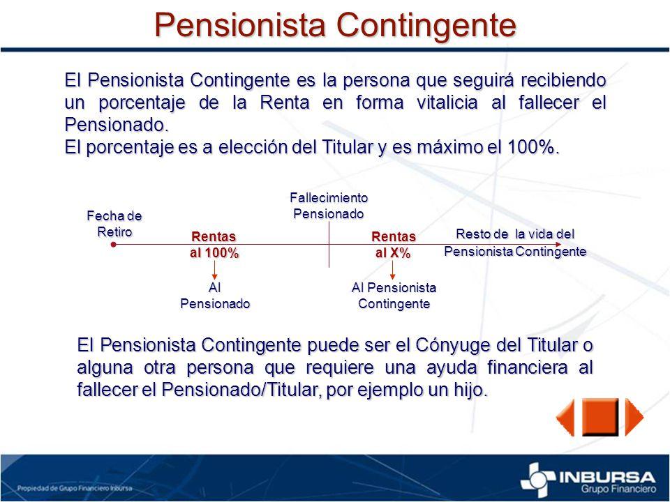 Pensionista Contingente El Pensionista Contingente es la persona que seguirá recibiendo un porcentaje de la Renta en forma vitalicia al fallecer el Pe