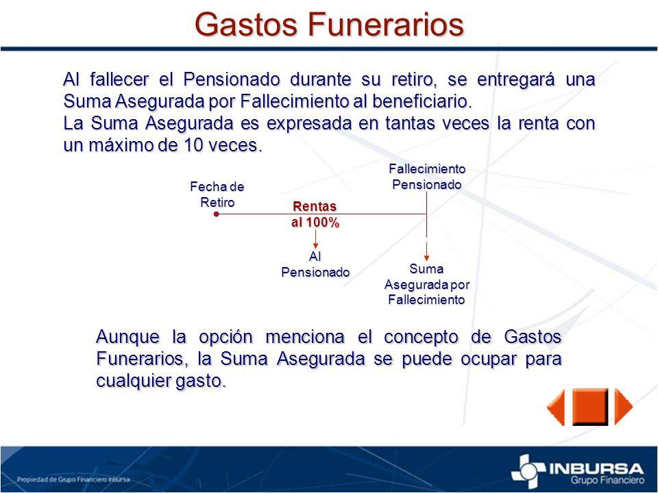 Gastos Funerarios Al fallecer el Pensionado durante su retiro, se entregará una Suma Asegurada por Fallecimiento al beneficiario. La Suma Asegurada es