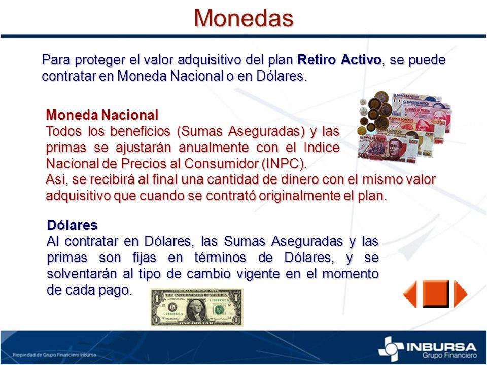 Monedas Para proteger el valor adquisitivo del plan Retiro Activo, se puede contratar en Moneda Nacional o en Dólares. Moneda Nacional Todos los benef