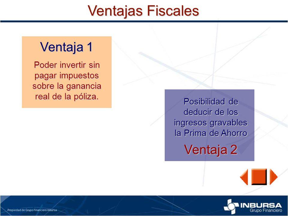Ventajas Fiscales Ventaja 1 Poder invertir sin pagar impuestos sobre la ganancia real de la póliza. Ventaja 2 Posibilidad de deducir de los ingresos g