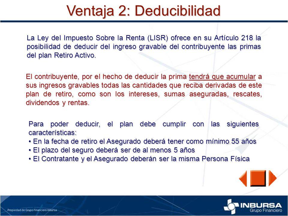Ventaja 2: Deducibilidad La Ley del Impuesto Sobre la Renta (LISR) ofrece en su Artículo 218 la posibilidad de deducir del ingreso gravable del contri
