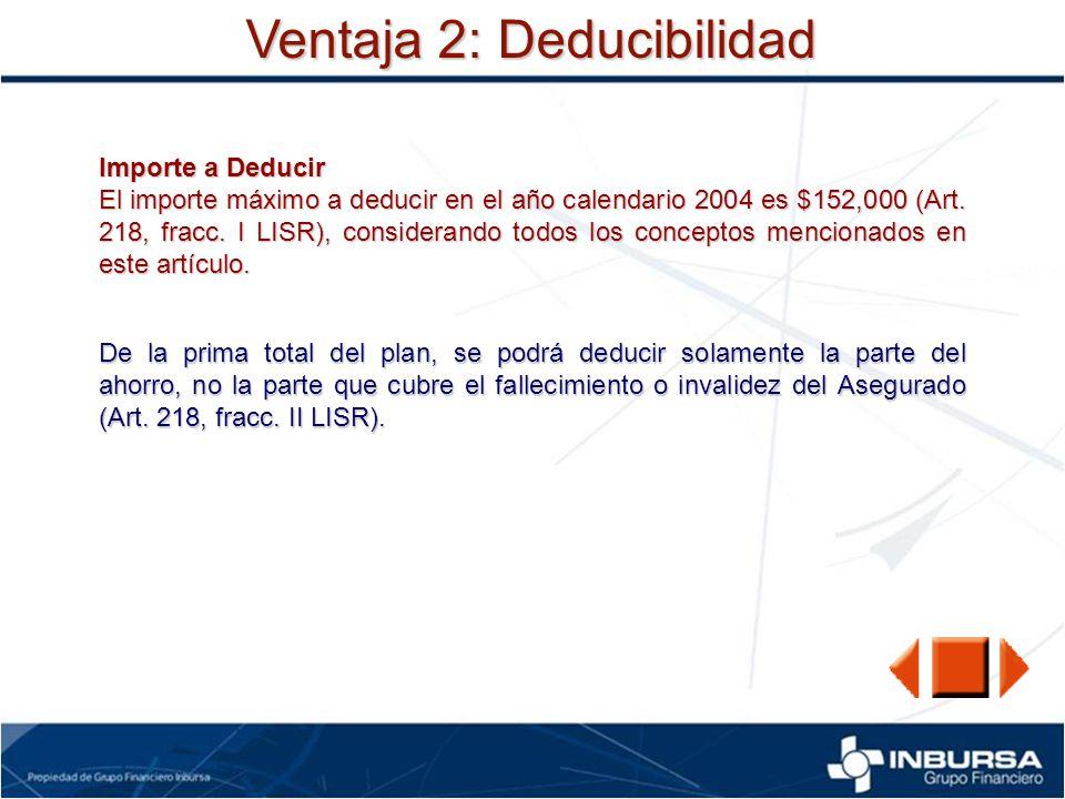 Ventaja 2: Deducibilidad Importe a Deducir El importe máximo a deducir en el año calendario 2004 es $152,000 (Art. 218, fracc. I LISR), considerando t