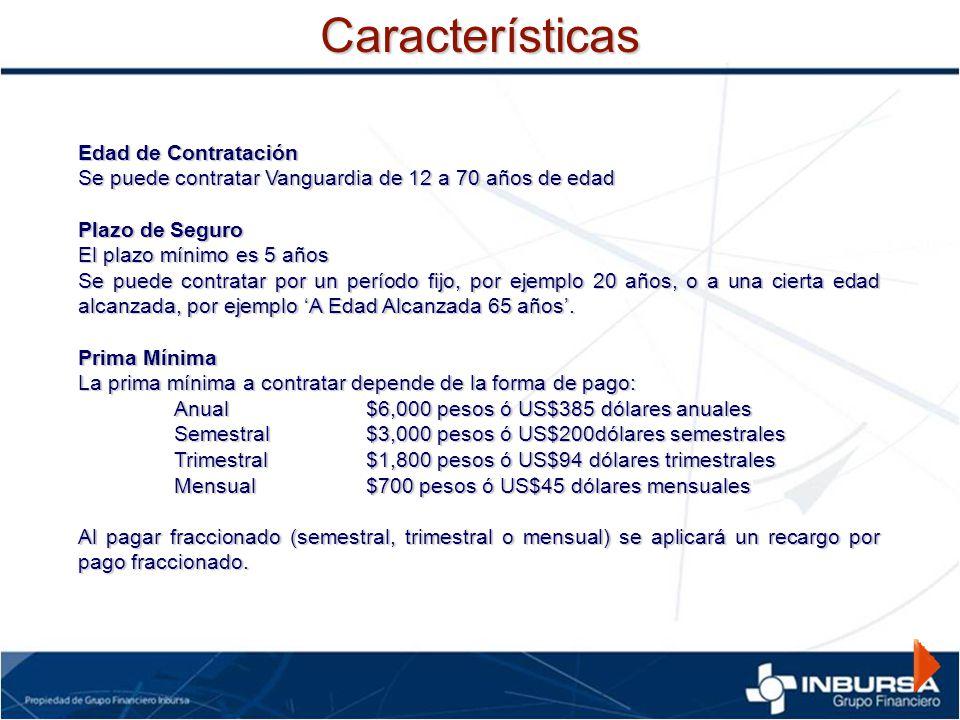 Edad de Contratación Se puede contratar Vanguardia de 12 a 70 años de edad Plazo de Seguro El plazo mínimo es 5 años Se puede contratar por un período