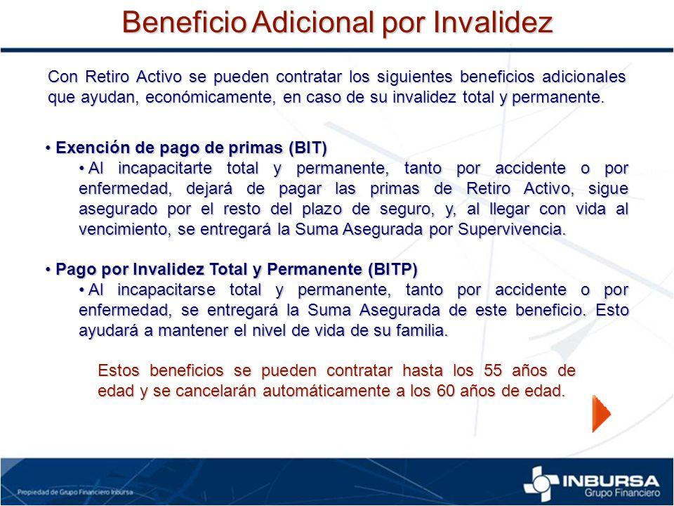 Con Retiro Activo se pueden contratar los siguientes beneficios adicionales que ayudan, económicamente, en caso de su invalidez total y permanente. Ex