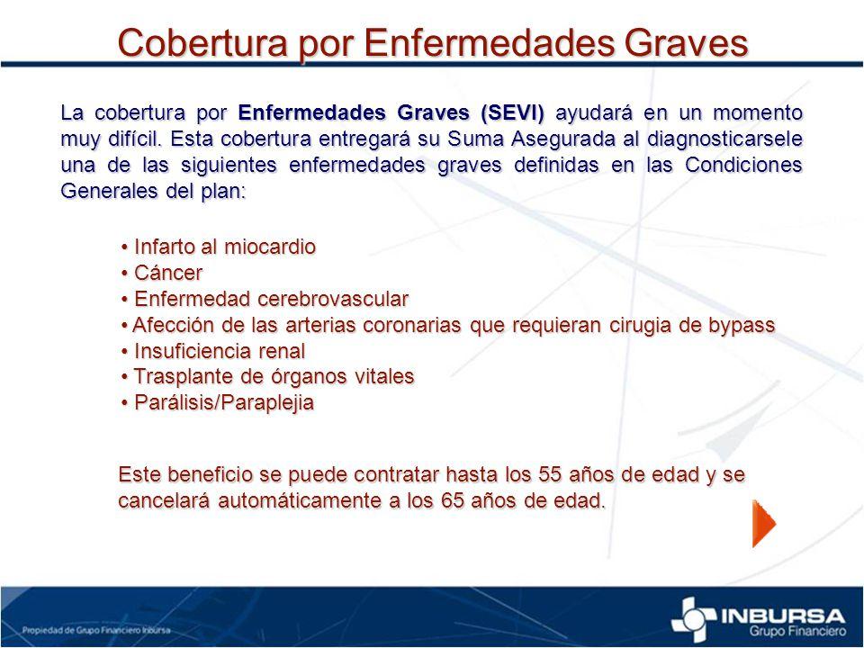 La cobertura por Enfermedades Graves (SEVI) ayudará en un momento muy difícil. Esta cobertura entregará su Suma Asegurada al diagnosticarsele una de l
