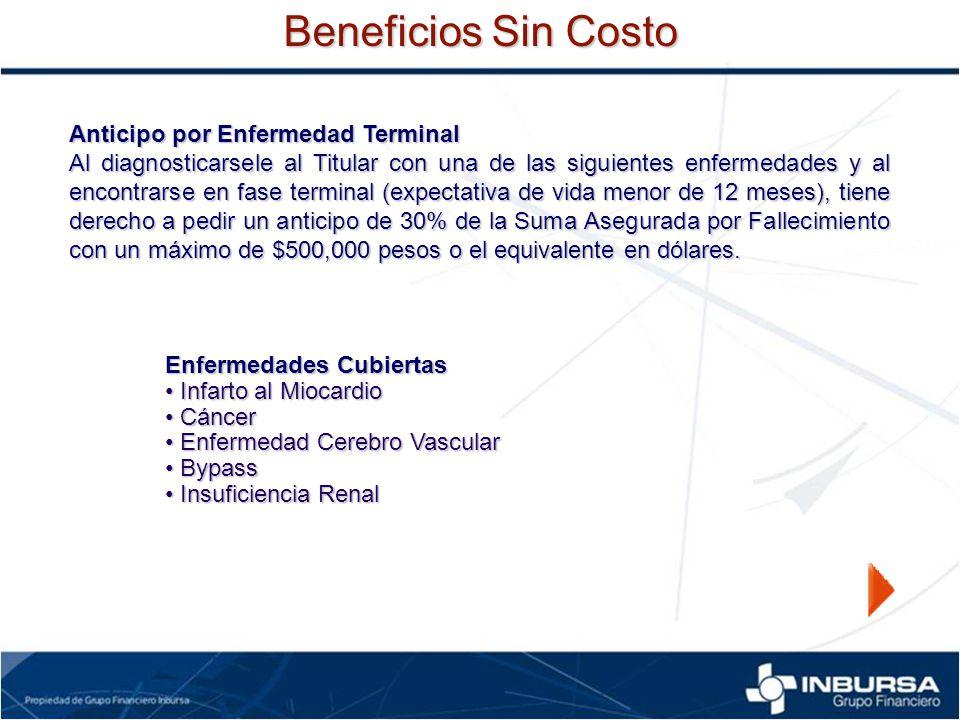 Anticipo por Enfermedad Terminal Al diagnosticarsele al Titular con una de las siguientes enfermedades y al encontrarse en fase terminal (expectativa