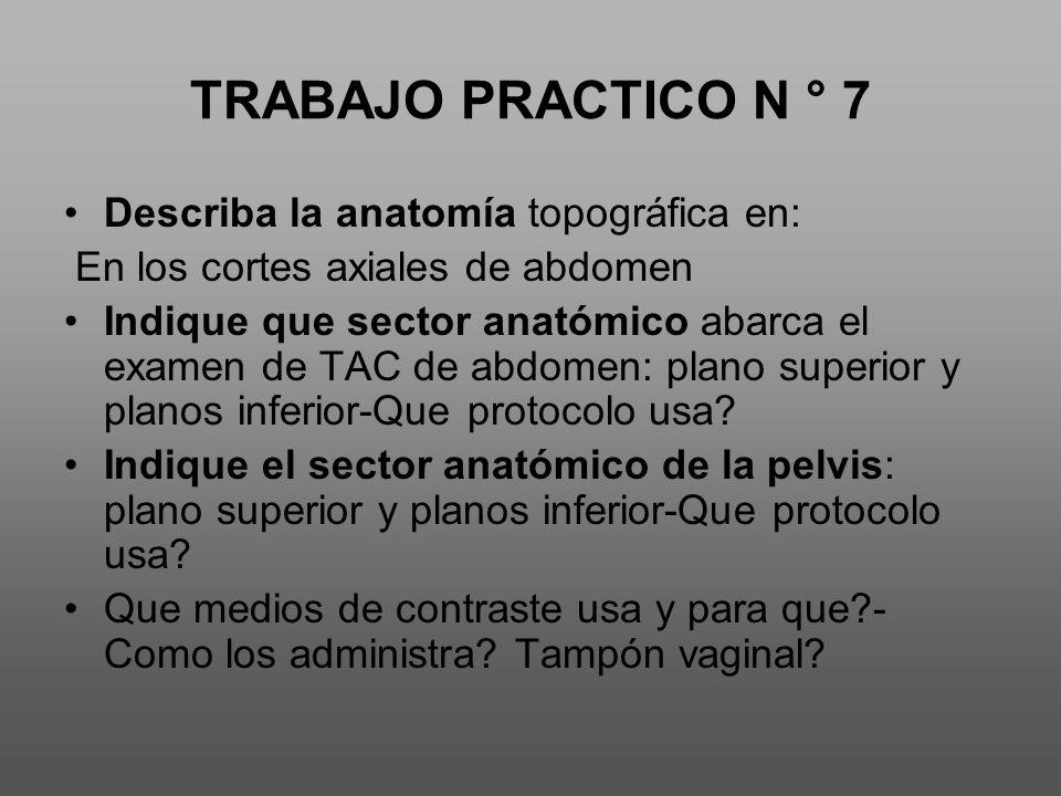 TRABAJO PRACTICO N ° 7 Describa la anatomía topográfica en: En los cortes axiales de abdomen Indique que sector anatómico abarca el examen de TAC de abdomen: plano superior y planos inferior-Que protocolo usa.