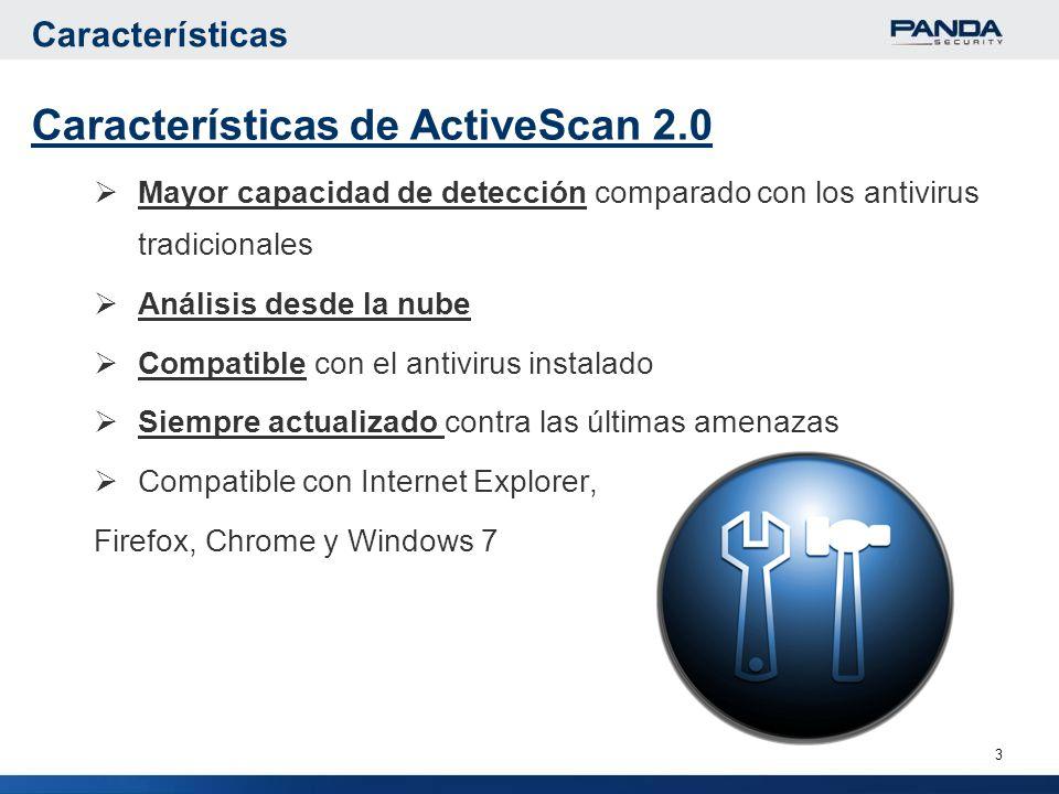 3 Características de ActiveScan 2.0 Mayor capacidad de detección comparado con los antivirus tradicionales Análisis desde la nube Compatible con el antivirus instalado Siempre actualizado contra las últimas amenazas Compatible con Internet Explorer, Firefox, Chrome y Windows 7 Características