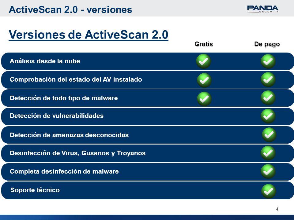 4 ActiveScan 2.0 - versiones Análisis desde la nube Comprobación del estado del AV instalado Detección de todo tipo de malware Desinfección de Virus, Gusanos y Troyanos Completa desinfección de malware Gratis De pago Soporte técnico Detección de vulnerabilidades Detección de amenazas desconocidas Versiones de ActiveScan 2.0