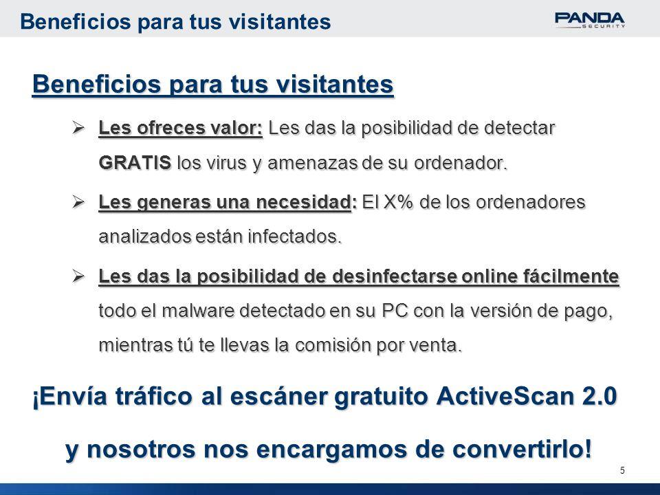 5 Beneficios para tus visitantes Les ofreces valor: Les das la posibilidad de detectar GRATIS los virus y amenazas de su ordenador.