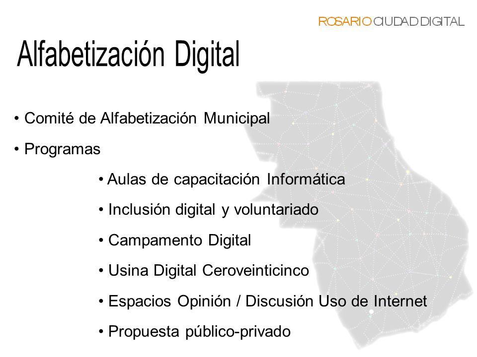 Comité de Alfabetización Municipal Programas Aulas de capacitación Informática Inclusión digital y voluntariado Campamento Digital Usina Digital Cerov