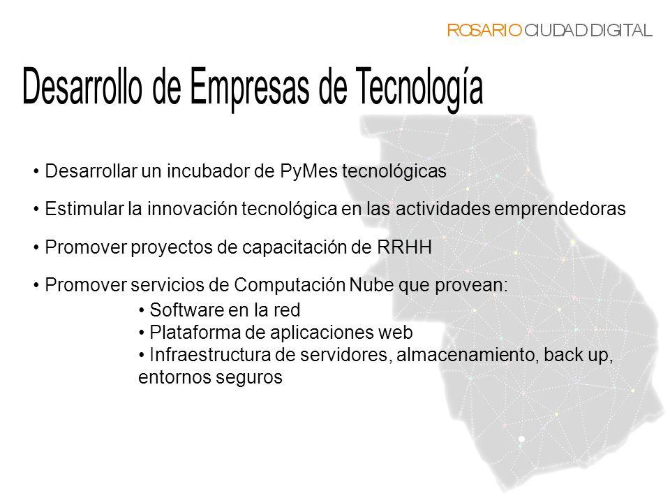 Desarrollar un incubador de PyMes tecnológicas Estimular la innovación tecnológica en las actividades emprendedoras Promover proyectos de capacitación
