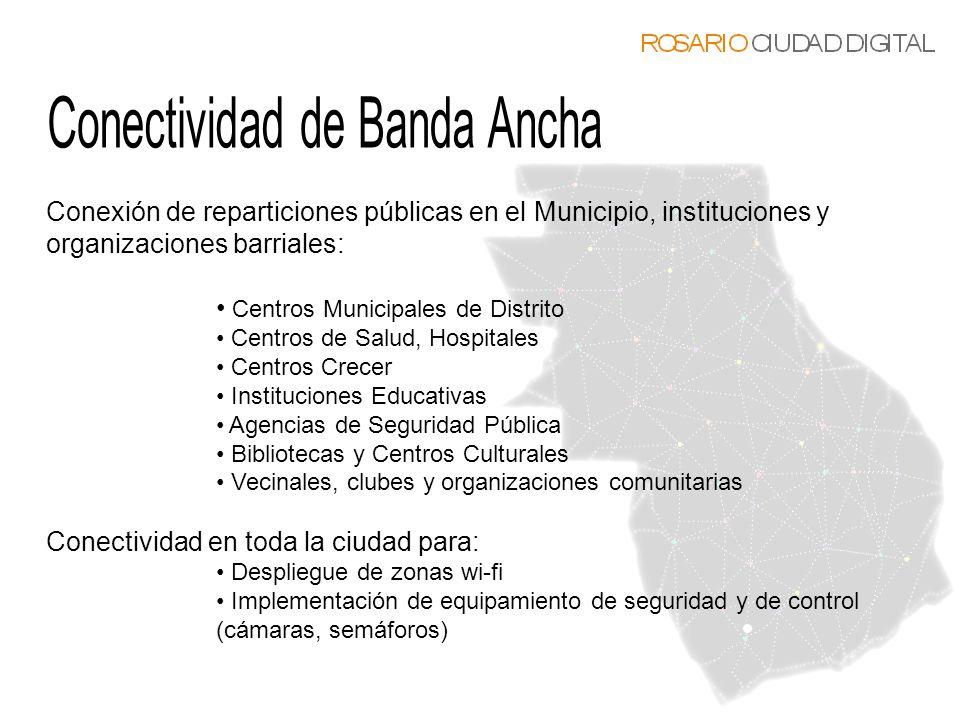 Conexión de reparticiones públicas en el Municipio, instituciones y organizaciones barriales: Centros Municipales de Distrito Centros de Salud, Hospit