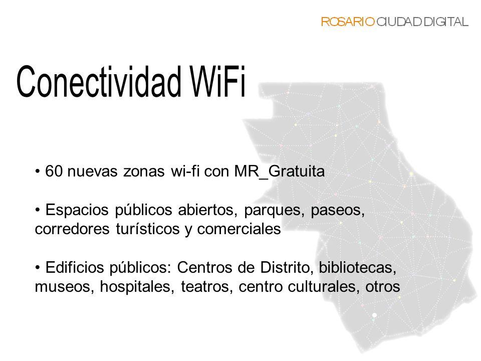 60 nuevas zonas wi-fi con MR_Gratuita Espacios públicos abiertos, parques, paseos, corredores turísticos y comerciales Edificios públicos: Centros de