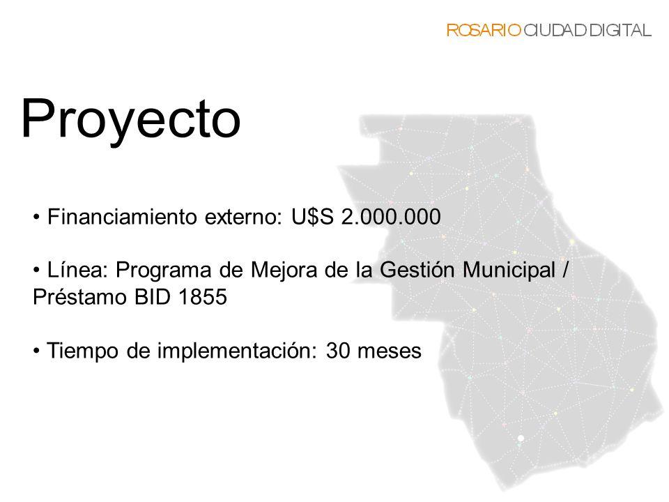 Financiamiento externo: U$S 2.000.000 Línea: Programa de Mejora de la Gestión Municipal / Préstamo BID 1855 Tiempo de implementación: 30 meses