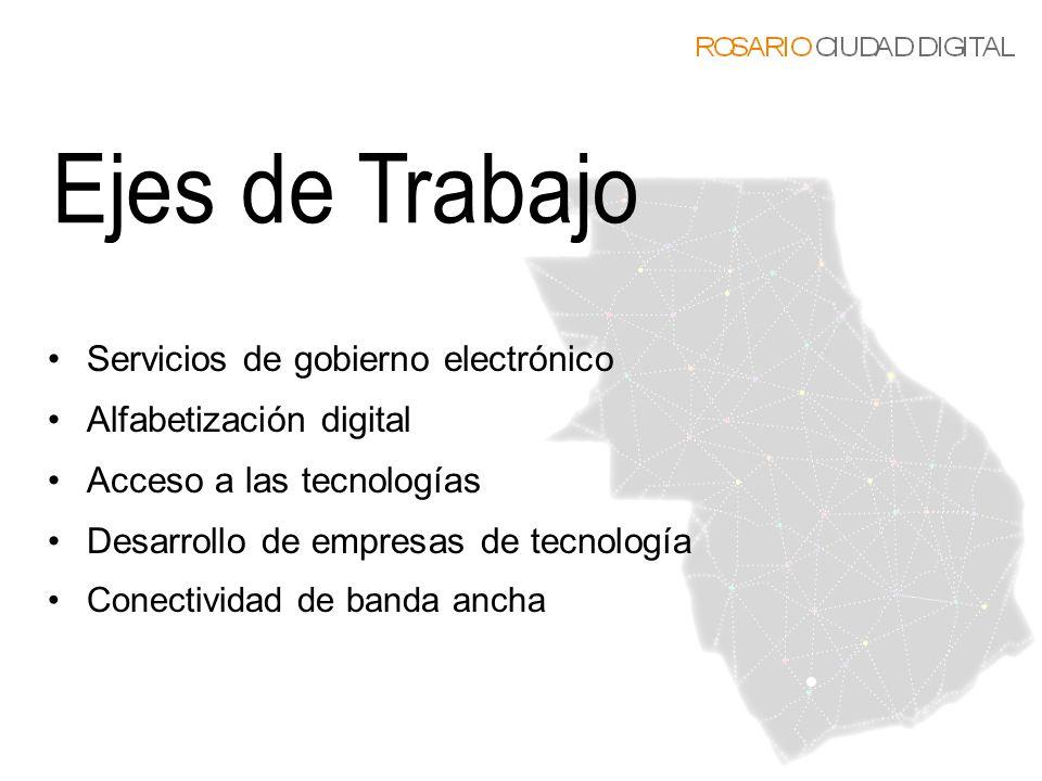 Servicios de gobierno electrónico Alfabetización digital Acceso a las tecnologías Desarrollo de empresas de tecnología Conectividad de banda ancha
