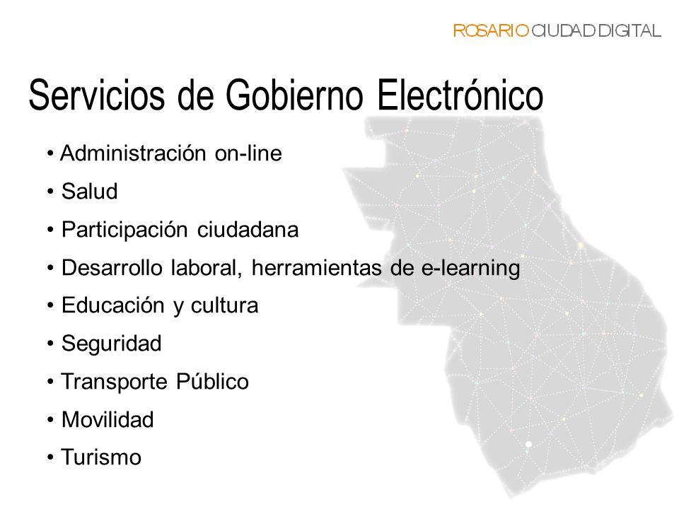 Administración on-line Salud Participación ciudadana Desarrollo laboral, herramientas de e-learning Educación y cultura Seguridad Transporte Público M