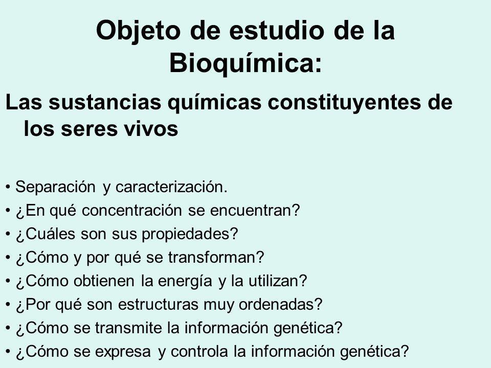 Objeto de estudio de la Bioquímica: Las sustancias químicas constituyentes de los seres vivos Separación y caracterización. ¿En qué concentración se e
