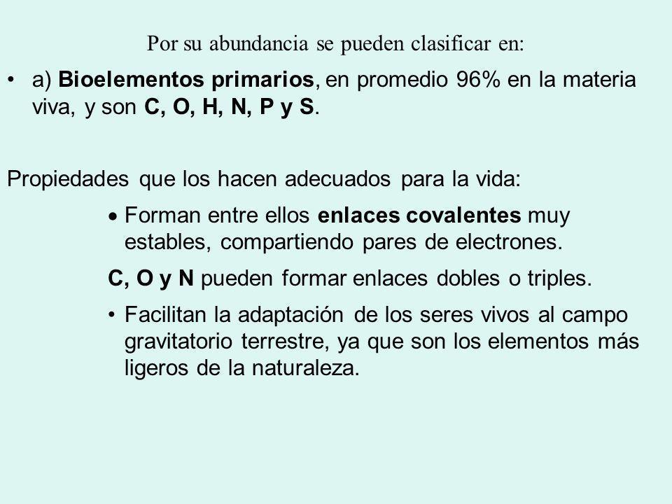 Por su abundancia se pueden clasificar en: a) Bioelementos primarios, en promedio 96% en la materia viva, y son C, O, H, N, P y S. Propiedades que los