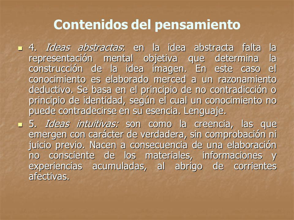 Contenidos del pensamiento 4. Ideas abstractas: en la idea abstracta falta la representación mental objetiva que determina la construcción de la idea