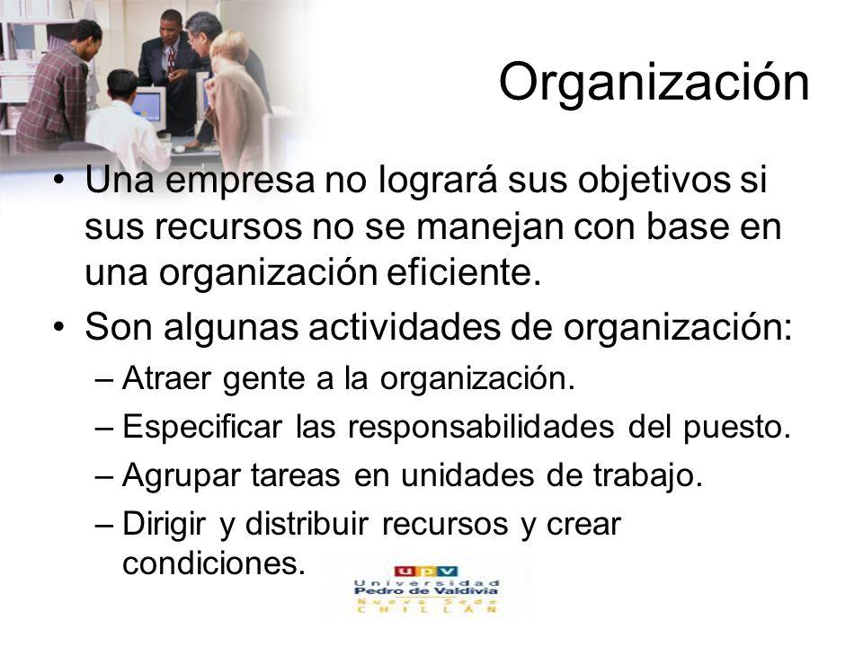 www.auladeeconomia.com Organización Una empresa no logrará sus objetivos si sus recursos no se manejan con base en una organización eficiente. Son alg