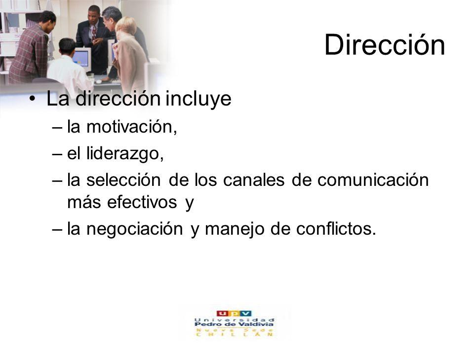 www.auladeeconomia.com Dirección La dirección incluye –la motivación, –el liderazgo, –la selección de los canales de comunicación más efectivos y –la negociación y manejo de conflictos.