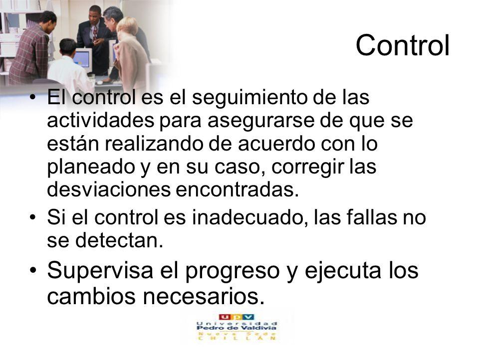 www.auladeeconomia.com Control El control es el seguimiento de las actividades para asegurarse de que se están realizando de acuerdo con lo planeado y