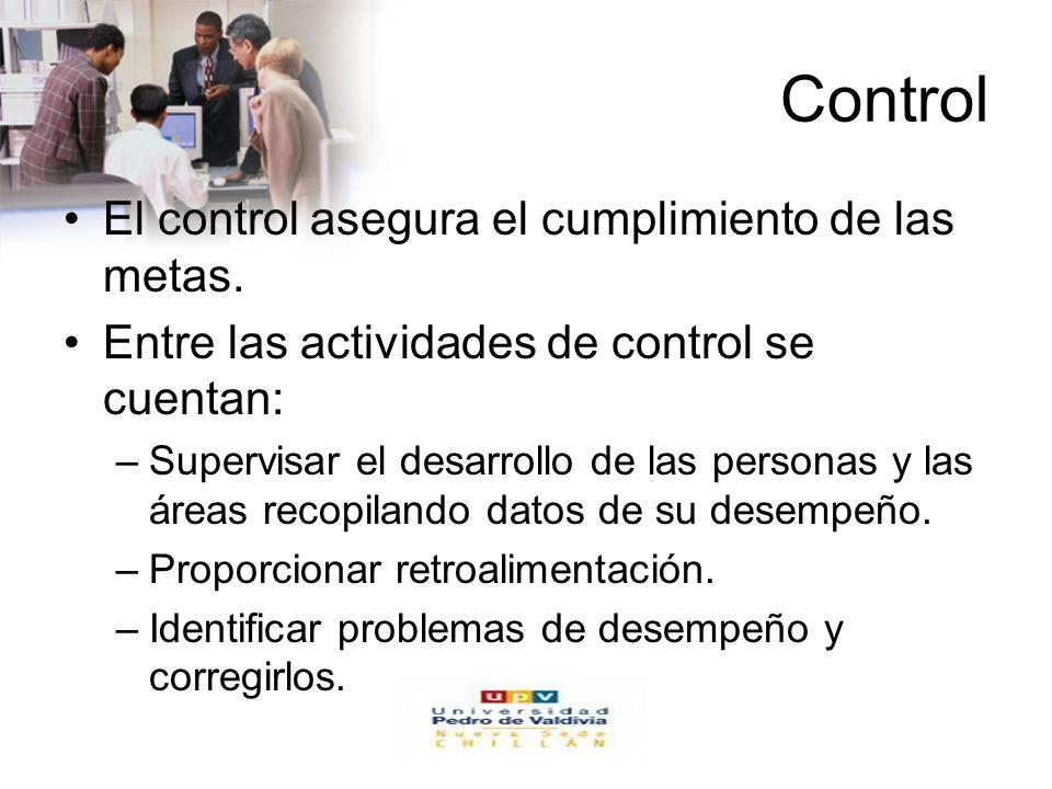 www.auladeeconomia.com Control El control asegura el cumplimiento de las metas. Entre las actividades de control se cuentan: –Supervisar el desarrollo