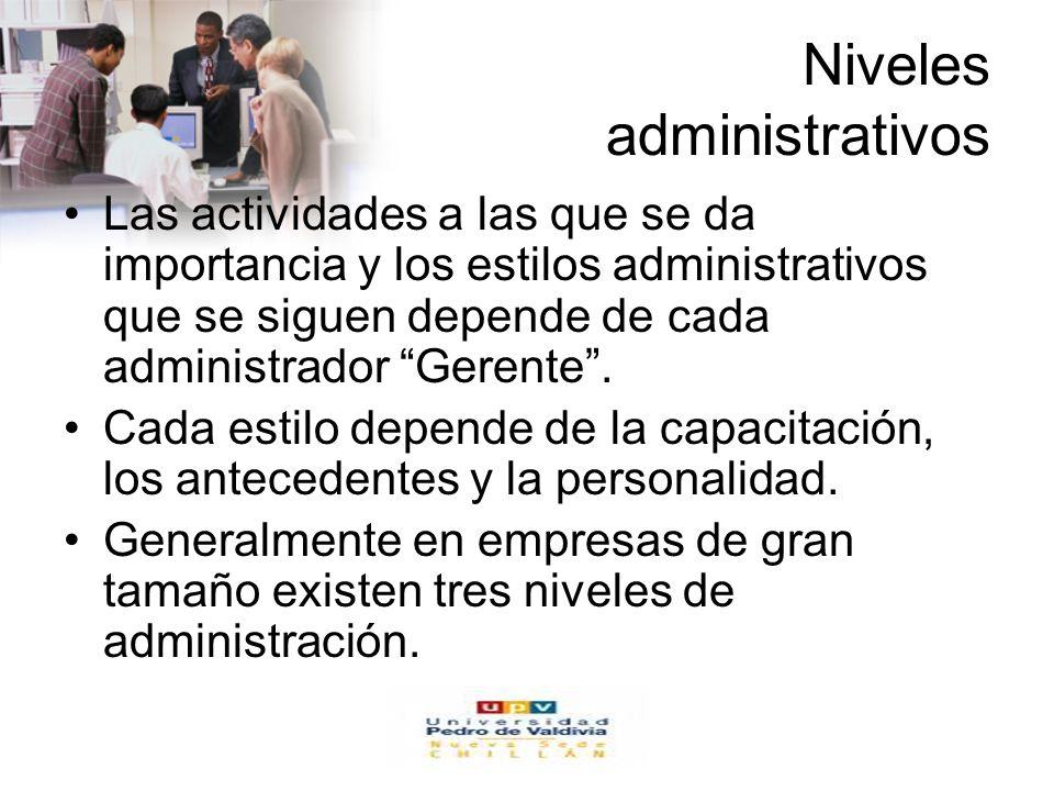 www.auladeeconomia.com Niveles administrativos Las actividades a las que se da importancia y los estilos administrativos que se siguen depende de cada administrador Gerente.