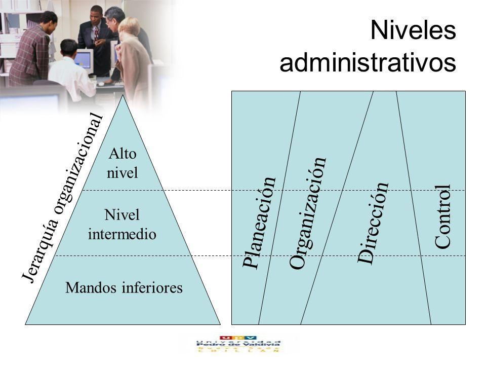 www.auladeeconomia.com Niveles administrativos Alto nivel Nivel intermedio Mandos inferiores Jerarquía organizacional Planeación Organización Dirección Control
