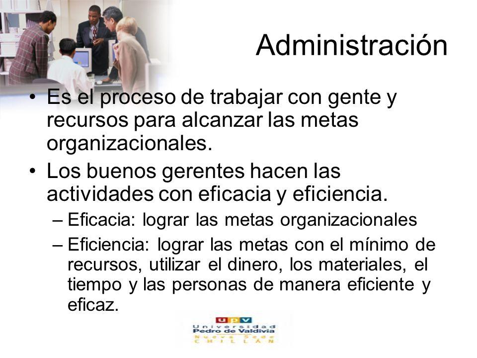 www.auladeeconomia.com Administración Es el proceso de trabajar con gente y recursos para alcanzar las metas organizacionales. Los buenos gerentes hac