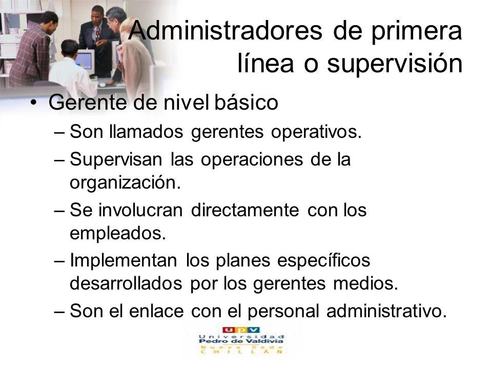 www.auladeeconomia.com Administradores de primera línea o supervisión Gerente de nivel básico –Son llamados gerentes operativos. –Supervisan las opera