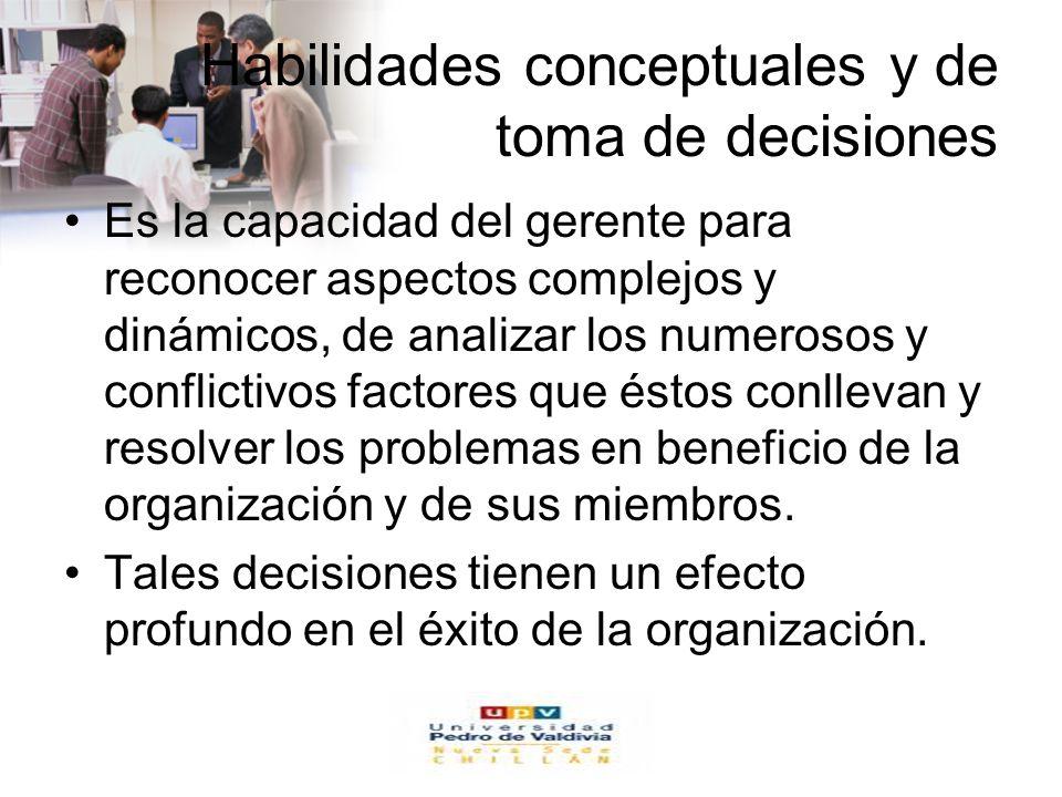 www.auladeeconomia.com Habilidades conceptuales y de toma de decisiones Es la capacidad del gerente para reconocer aspectos complejos y dinámicos, de